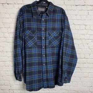 David Taylor Blue Flannel Button Front Long Sleeve